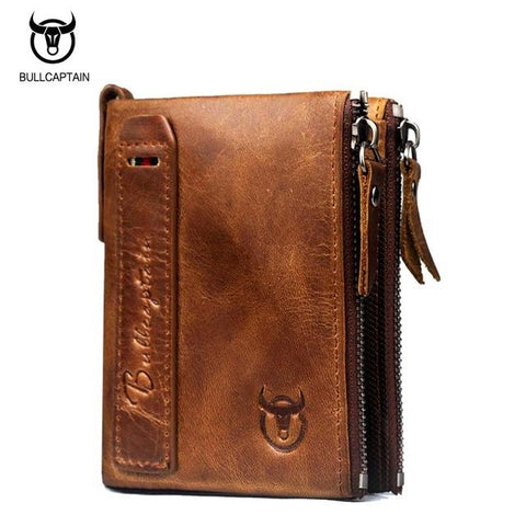BULL CAPTAIN Vintage BIFOLD brand leather MEN wallets cowhide zipper SHORT money wallet hasp card holder small coin purse  #QB06