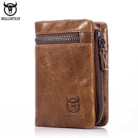 BULL CAPTAIN 2017 CASUAL Short Trifold Hasp Zipper Wallet MEN Coffee Cow Leather Wallet Coin Pocket Money Purse Bag Card Holder