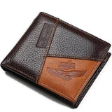 Men's Casual Genuine Leather Wallet with Inside Zipper Pocket