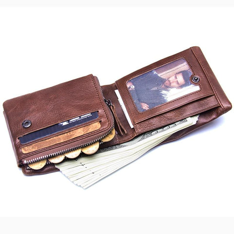 CONTACT'S Genuine Crazy Horse Leather Men Wallets Trifold
