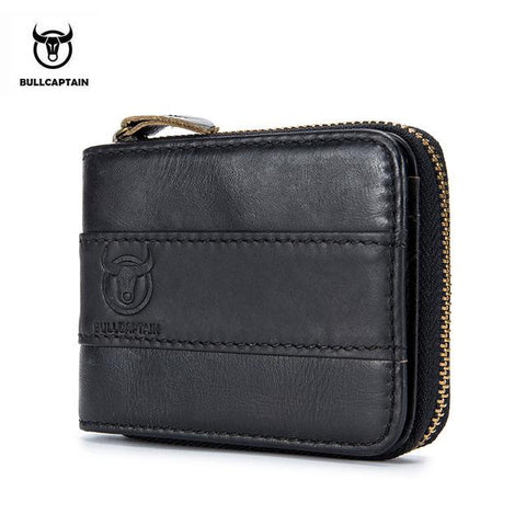 BULLCAPTAIN 2017 New Arrival Mens Wallet Cowhide Coin Purse Slim RFID Carteira Designer Brand Wallet clutch leather wallet 025