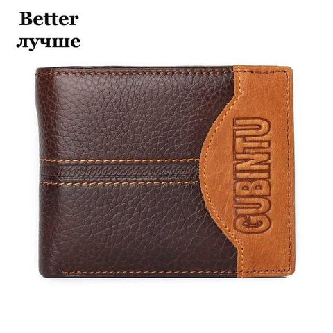 GUBINTU Men Wallets Genuine Cow Leather Short Design Card Holder Passcard Pocket Men Purse High Quality Brand Male wallet