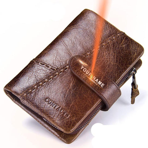Purse Zipper Genuine Leather Short Men Wallet With Key Holder Ring High Quality Card Holder Wallets Men's Purse