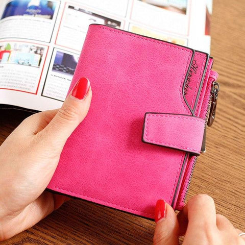 Fashion Simple Women Solid Color Purse Girls Short PU Material Wallet Coin Card Holder Purse Female Scrub Money Bag Zipper Bag