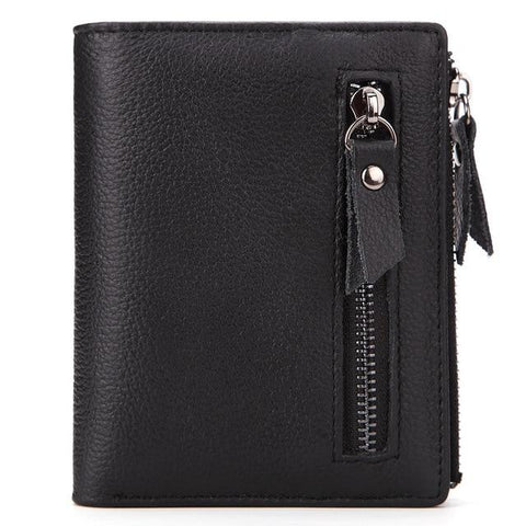 Genuine Leather Mens Wallet Man zipper Short Coin Purse Brand Male Cowhide Credit & id Wallet Multifunction Small Wallets