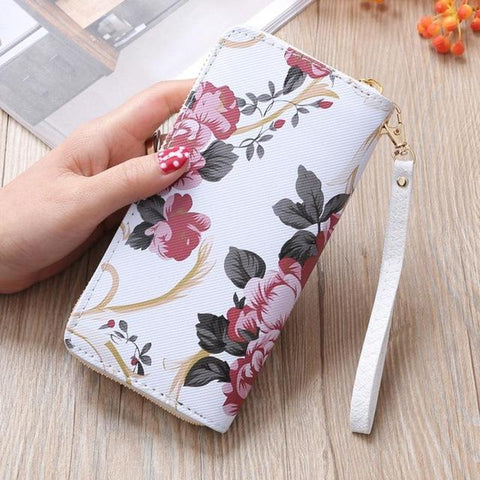 Floral Print Leather Zipper Wallet