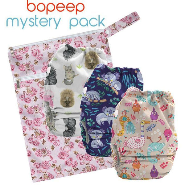 BoPeeps Promo Starter Pack (3 Newborn AI2 Nappies + Wet Bag)