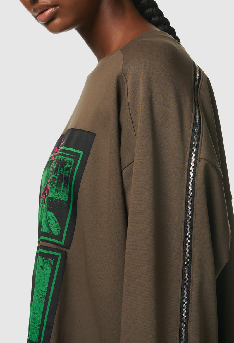 Chaos is King Long Sleeve Zip in Olive