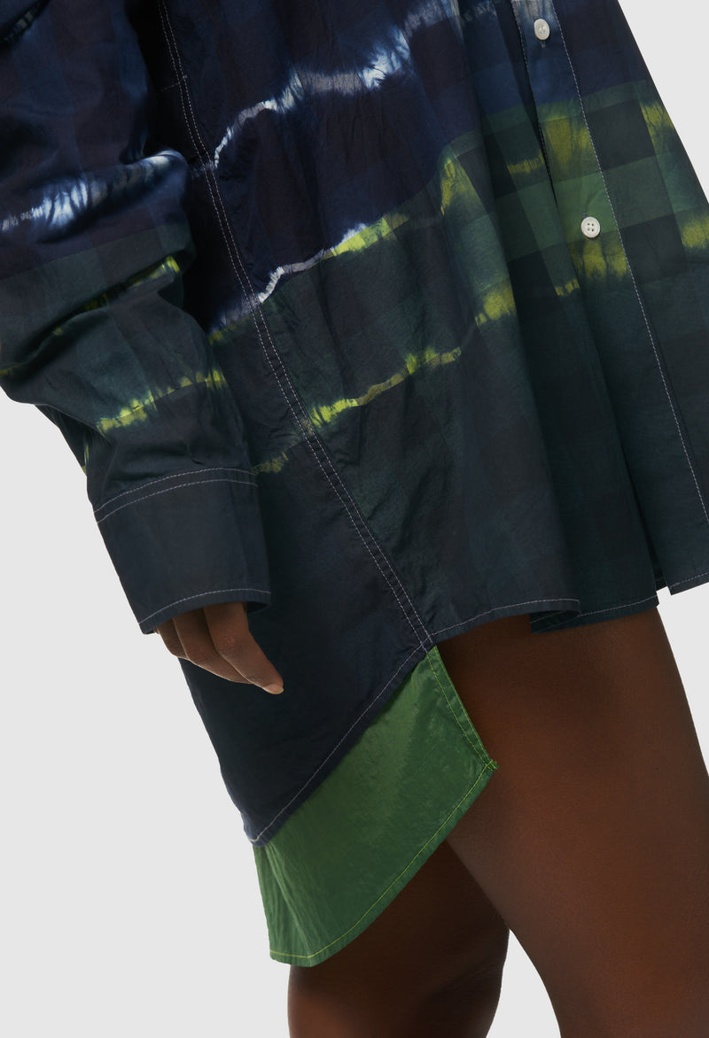 Neon Dipped Plaid Shirt