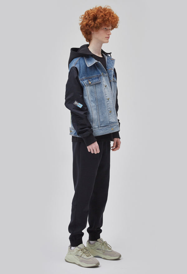 ZENSAI Half Denim Half Bomber Logo Jacket with Embroidered Patch Details 3/4 Side View on Male Model