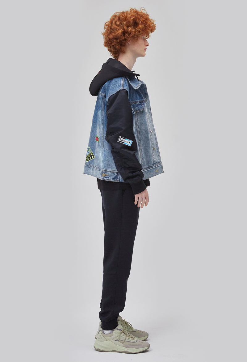 ZENSAI Half Denim Half Bomber Logo Jacket with Embroidered Patch Details Side View on Male Model