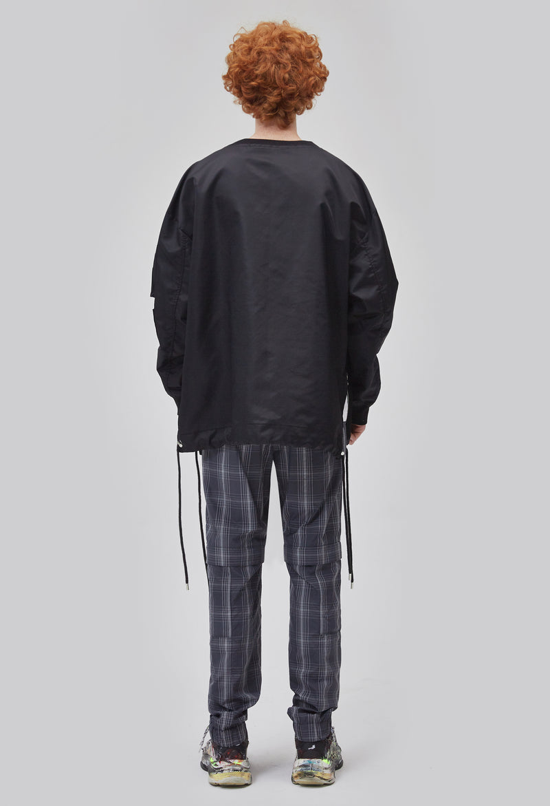 ZENSAI Black on Black Oversized Zip Pullover Back View on Male Model