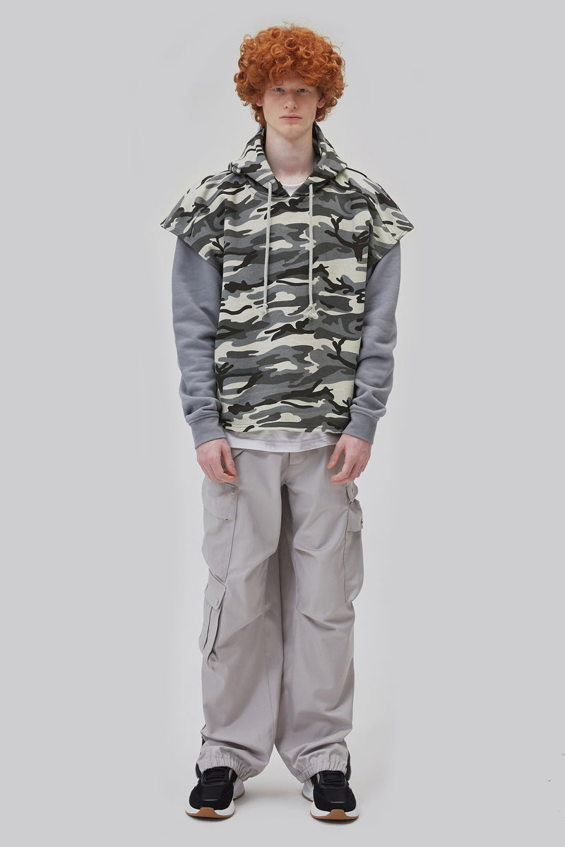 ZENSAI Layered Tundra Grey Camo Cut Off Hoodie with Grey Long Sleeves Front View on Male Model