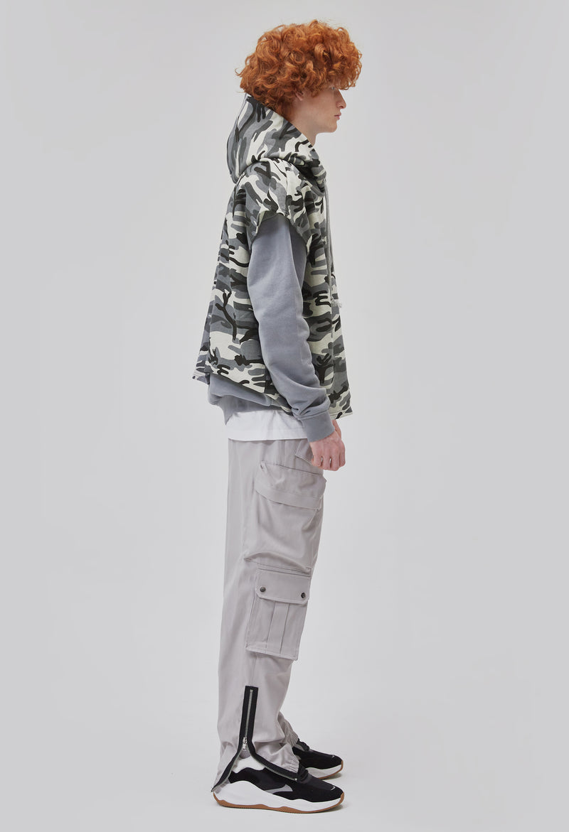 ZENSAI Layered Tundra Grey Camo Cut Off Hoodie with Grey Long Sleeves Side View on Male Model
