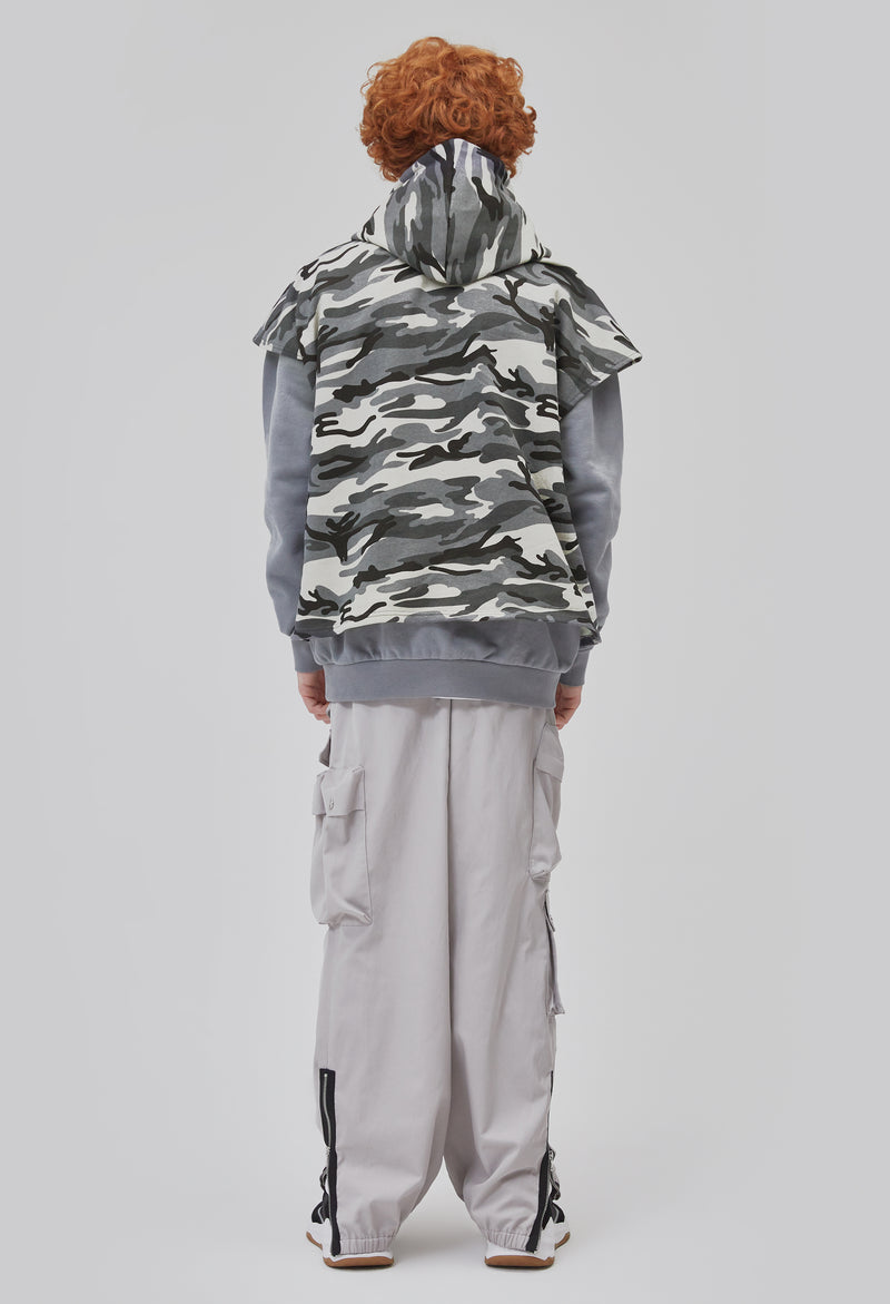 ZENSAI Layered Tundra Grey Camo Cut Off Hoodie with Grey Long Sleeves Back View on Male Model