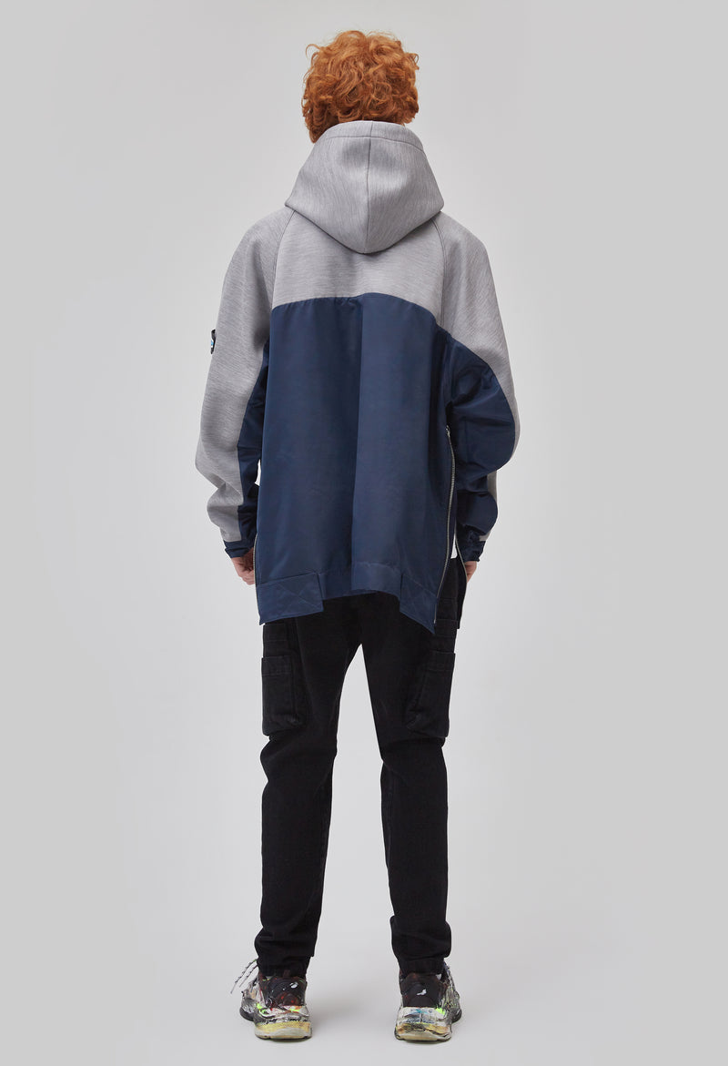 ZENSAI Two-Tone Grey and Blue Side Split Oversized Pullover Hoodie with Arm Logo Detail Back View on Male Model