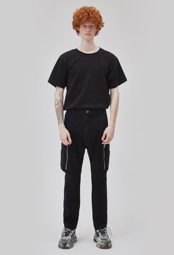ZENSAI Black Zipper Cargo Pant Front View on Male Model