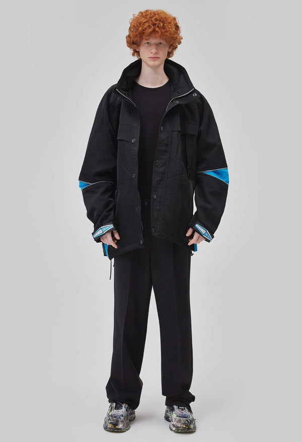 ZENSAI Azure Peak Oversized Black Parka Front View on Male Model