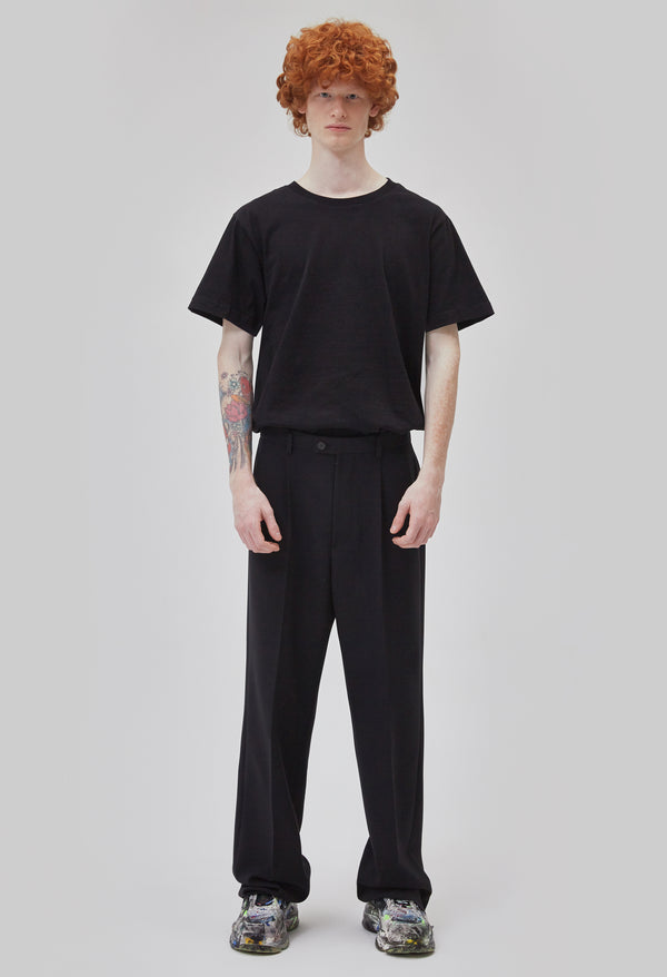 ZENSAI Black Relaxed Trousers Front View on Male Model