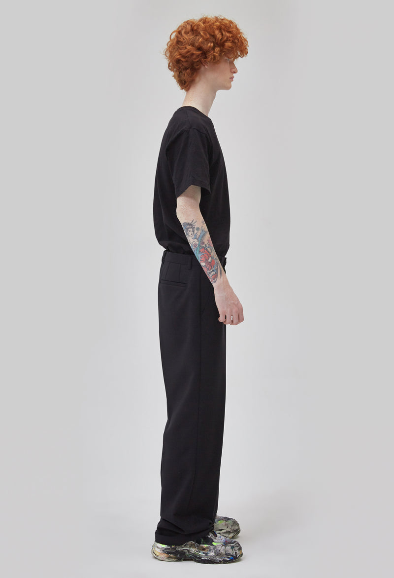 ZENSAI Black Relaxed Trousers Side View on Male Model