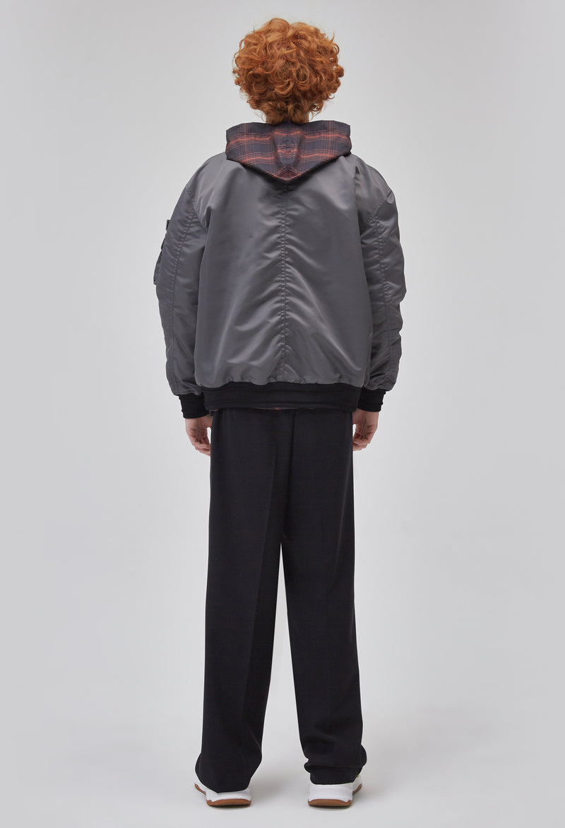 ZENSAI Grey Bomber Jacket with Multiple Pockets and Patched Logo Detail on Arm Back View on Male Model
