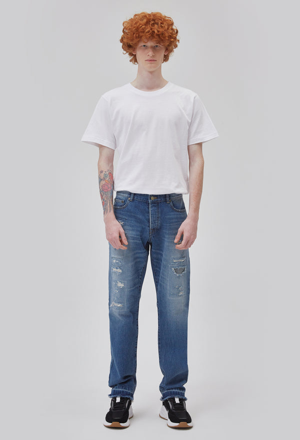 ZENSAI Distressed Patched Blue Jeans Front View on Male Model