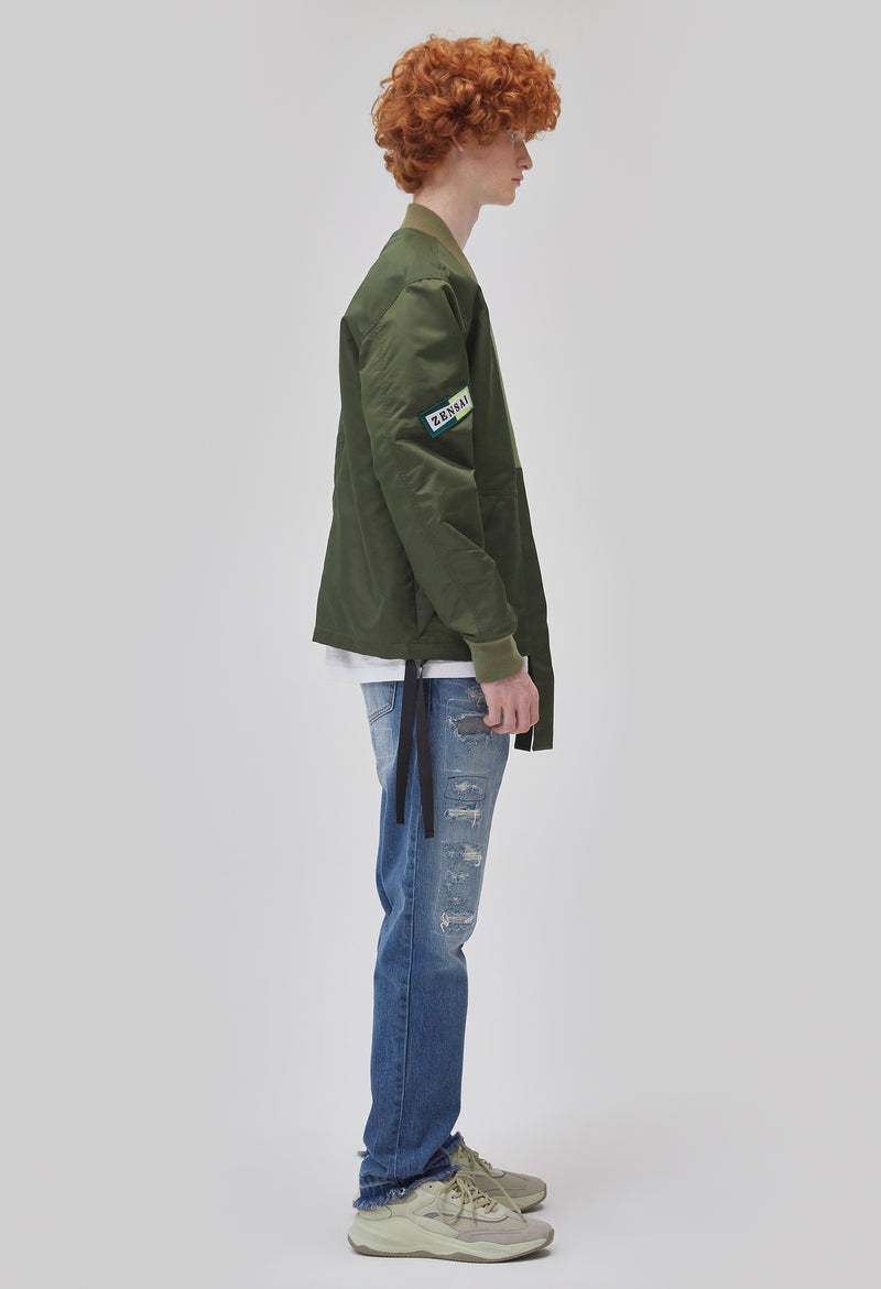 ZENSAI Army Green Kimono Bomber Jacket Side View on Male Model