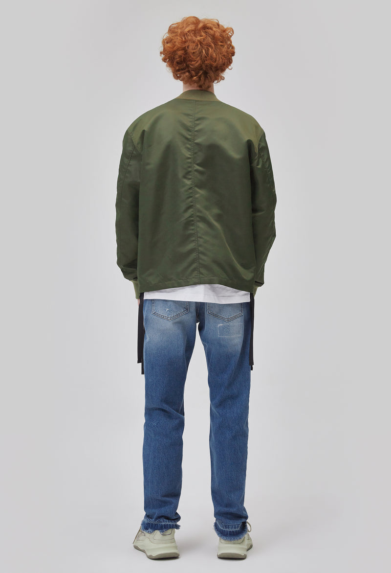 ZENSAI Army Green Kimono Bomber Jacket Back View on Male Model