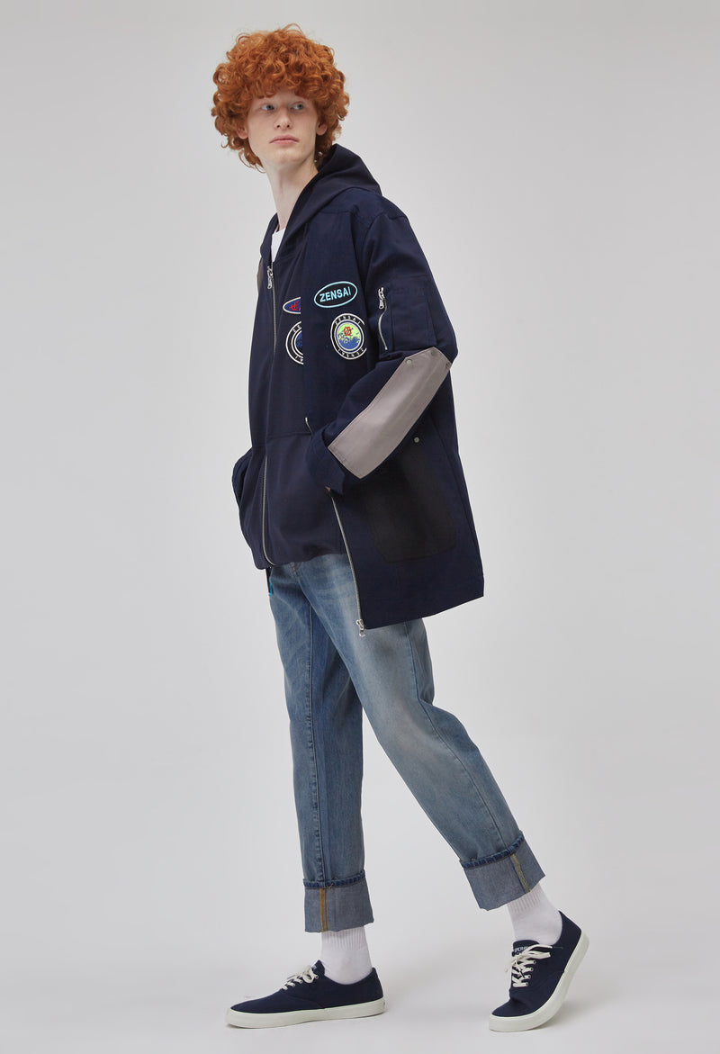 ZENSAI Blue Kimono Canvas Work Jacket with Elbow and Chest Patch Details Walking Side View on Male Model