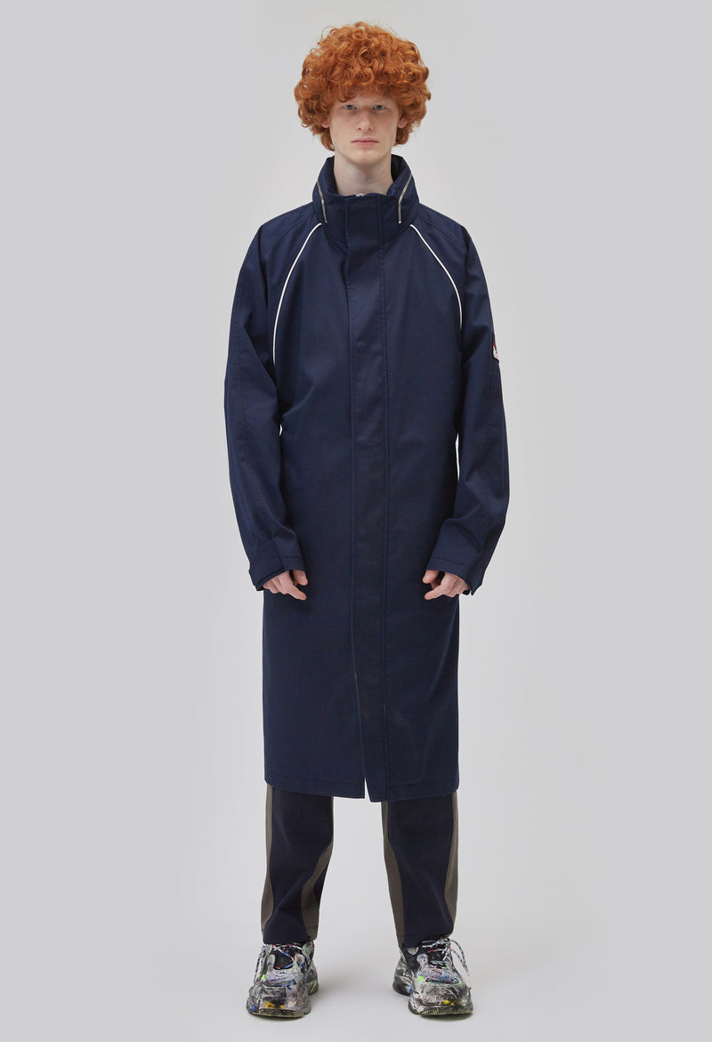 ZENSAI Deep Blue Long Parka Fully Zipped Front View on Male Model