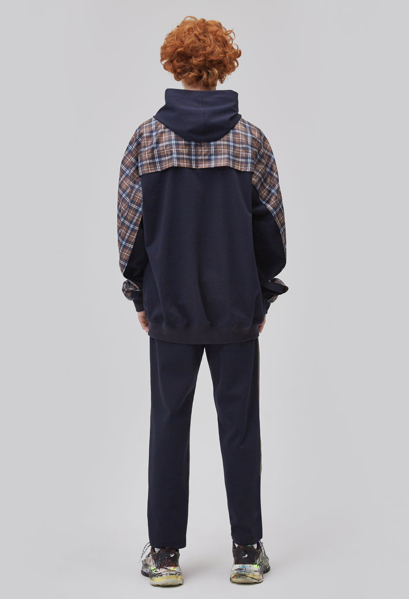 ZENSAI Dark Blue Zip Up Plaid Hoodie Jacket Back View on Male Model