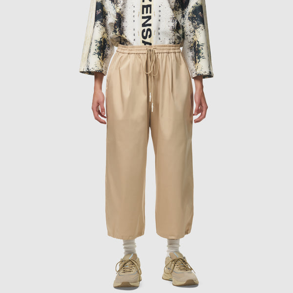 Wide Leg Cropped Trousers in Beige
