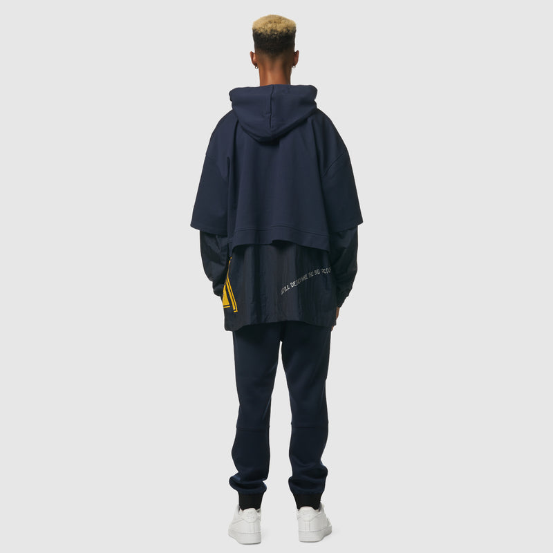 Floating World Layered Crop Hoodie in Navy