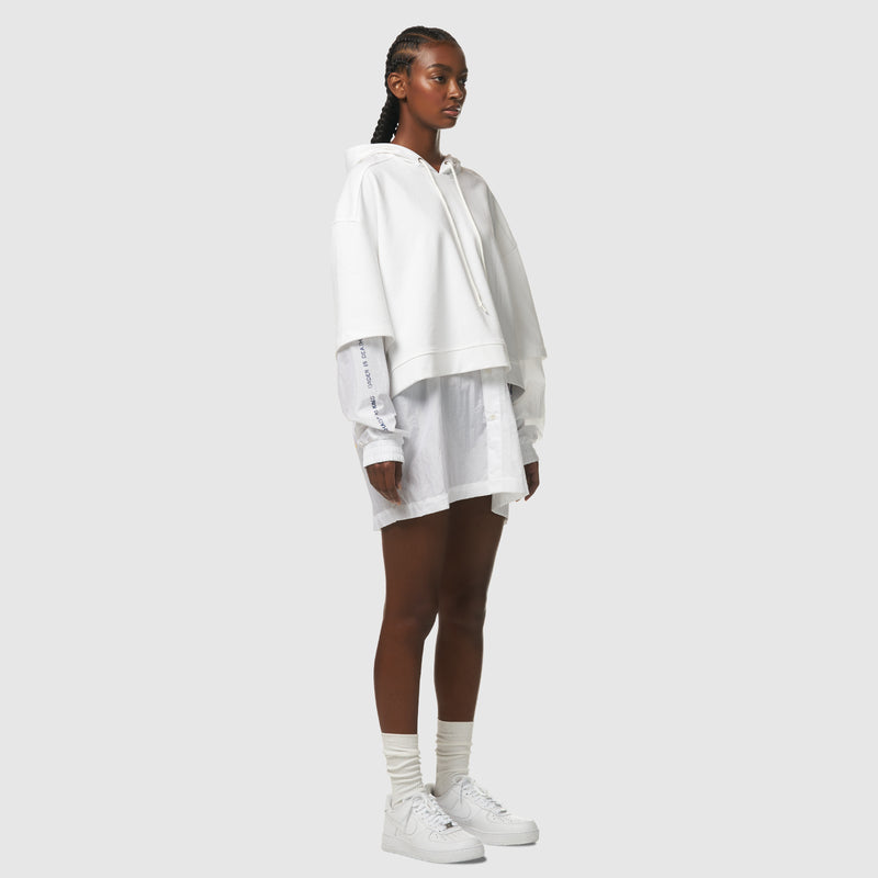 Floating World Layered Crop Hoodie in White