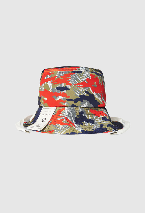Laced Tropical Bucket Hat in Red and Blue Camo