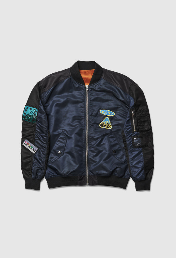 Black & Blue Patched Bomber