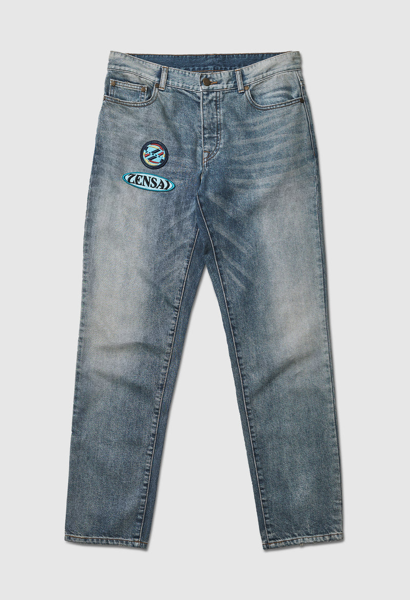 Logo Patch Faded Blue Jeans