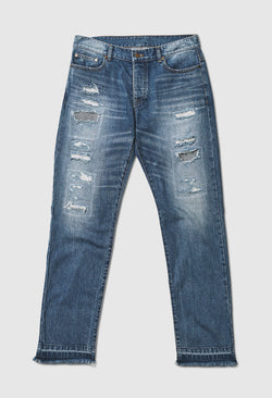 Distressed Patched Blue Jeans