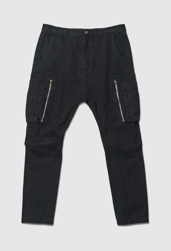 Black Denim Cargo Pant