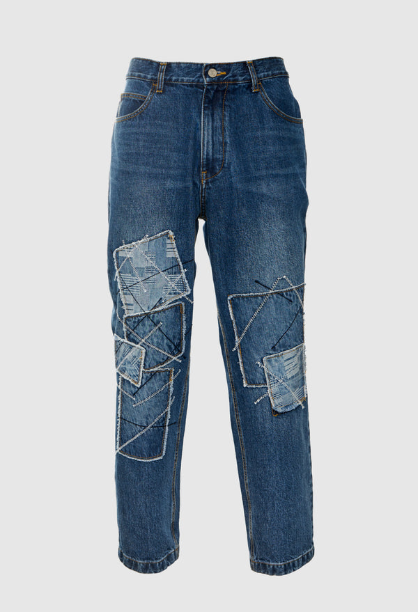 Stitched Patchwork Jeans
