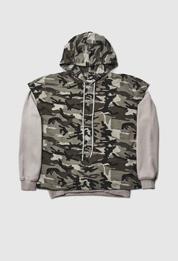 Layered Tundra-Grey Camo Cut-Off Hoodie