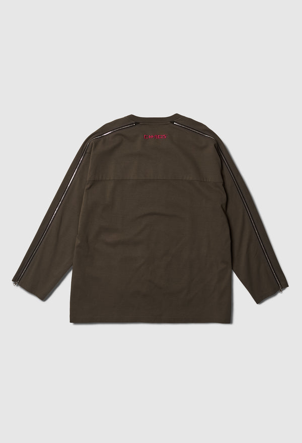 Mad World Heavy Long Zip Tee in Olive