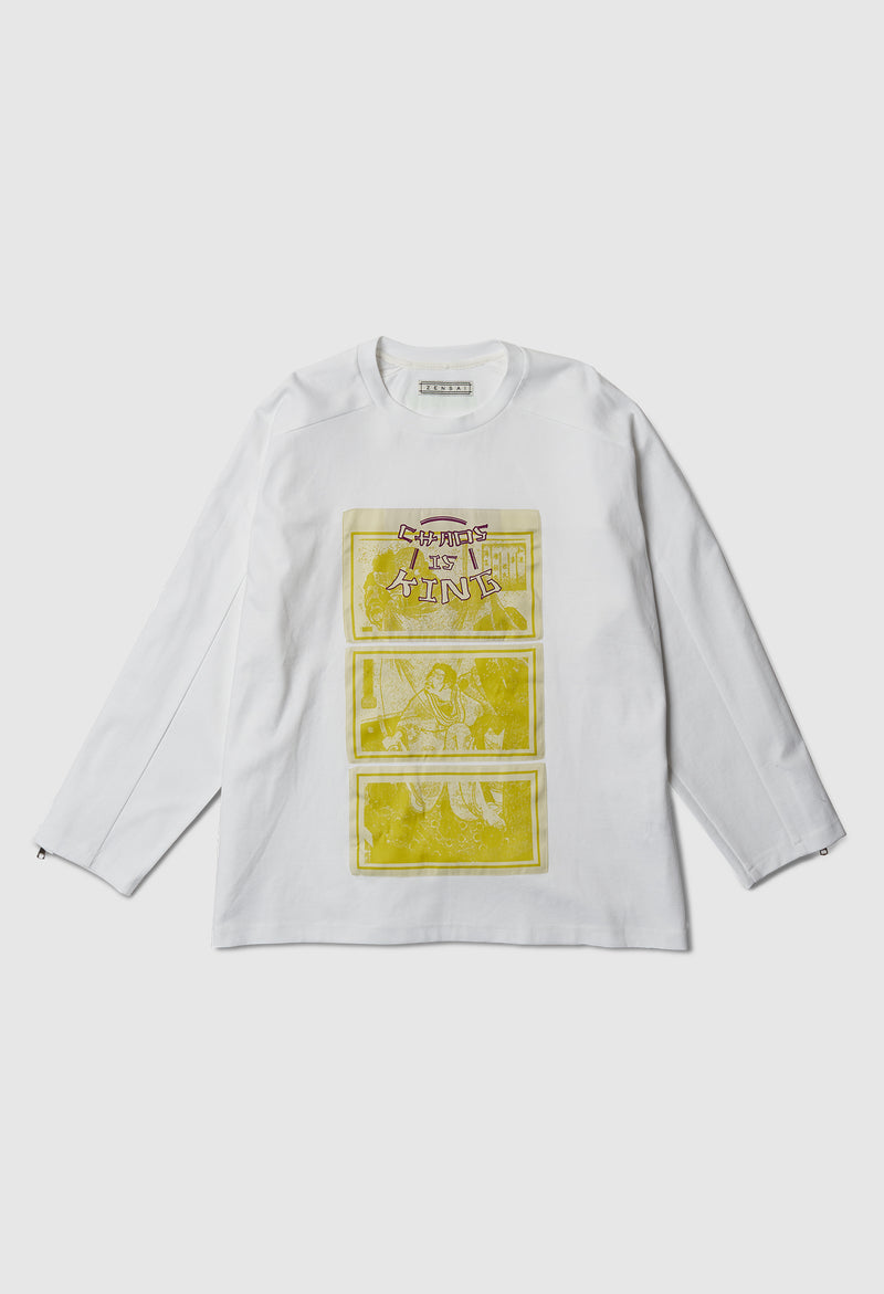 Chaos is King Long Sleeve Zip in White