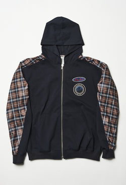 Zip Up Plaid Hoodie in Dark Blue