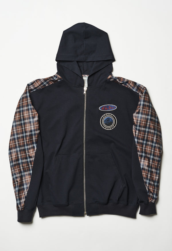 Dark Blue Zip Up Plaid Hoodie