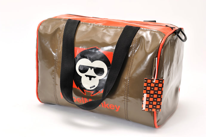 RebelMonkey OrangeOnBrown Vintage Duffle Bag