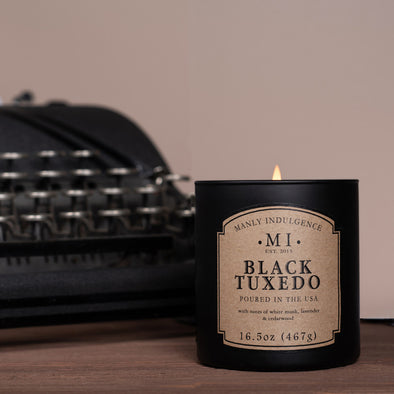 Manly Indulgence Scented Jar Candle, Classic Collection - Black Tuxedo, 16.5 oz - Single