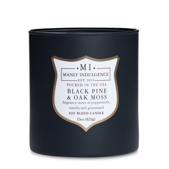 Manly Indulgence Scented Jar Candle, Core, Black Pine & Oak Moss, 15 Oz, Single Single