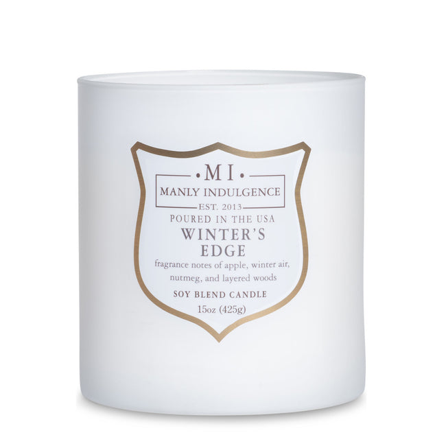 Manly Indulgence Scented Jar Candle, Core, Winters Edge, 15 Oz, Single Single