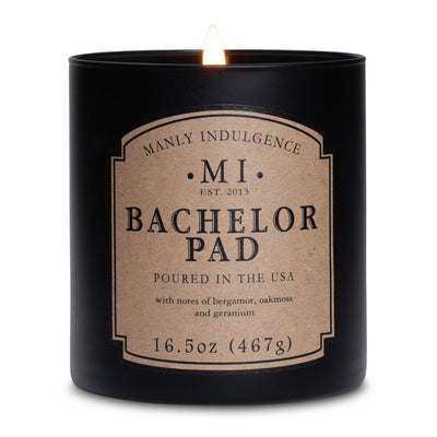 Manly Indulgence Scented Jar Candle, Classic, Bachelor Pad, 16.5 Oz, Single Single